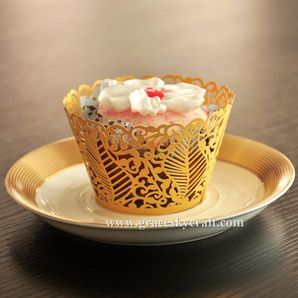 Leaves design Laser Cut Wedding / Birthday Cupcake Wrappers Liners Baking Cup For Home Garden Party Decoration