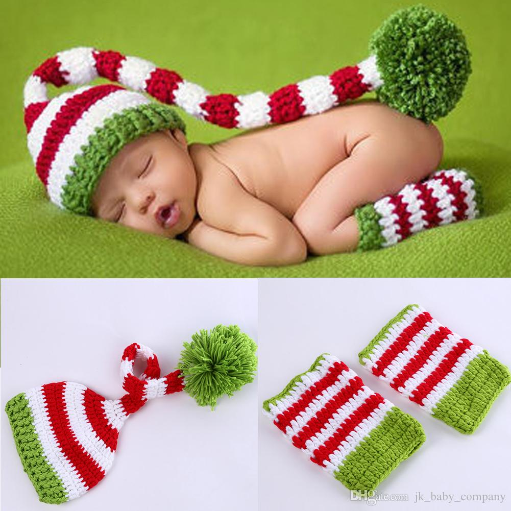 Newborn baby photography props baby girls boys wool red and green christmas hat with legging crochet knit costume photography prop bp022 18 inch doll
