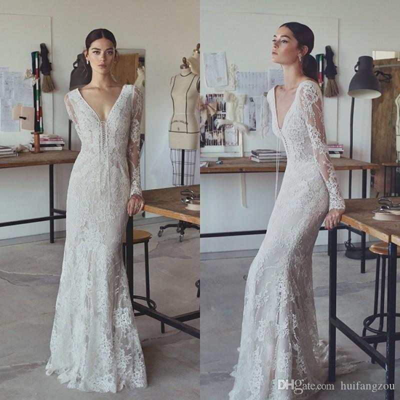 71886fb62d470 2019 Vintage Mermaid Wedding Dresses Lace Appliques Plunging Neck Beach Wedding  Dress Long Sleeves Boho Bridal Gowns Vestido De Novia Mermaid Wedding ...