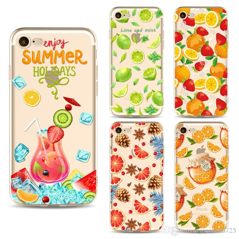 For Apple iphone 7 case Summer Fruits Pineapple Lemon TPU painting phone case ultra thin soft silicone back cover shell for iphone 6S 7 Plus