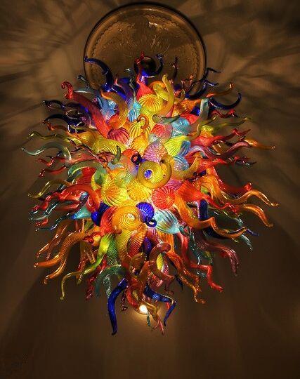 Elegant Colorful Suspend Pendant Light for New House Decoration LED Light Modern Hand Blown Art Glass Hanging Chandelier