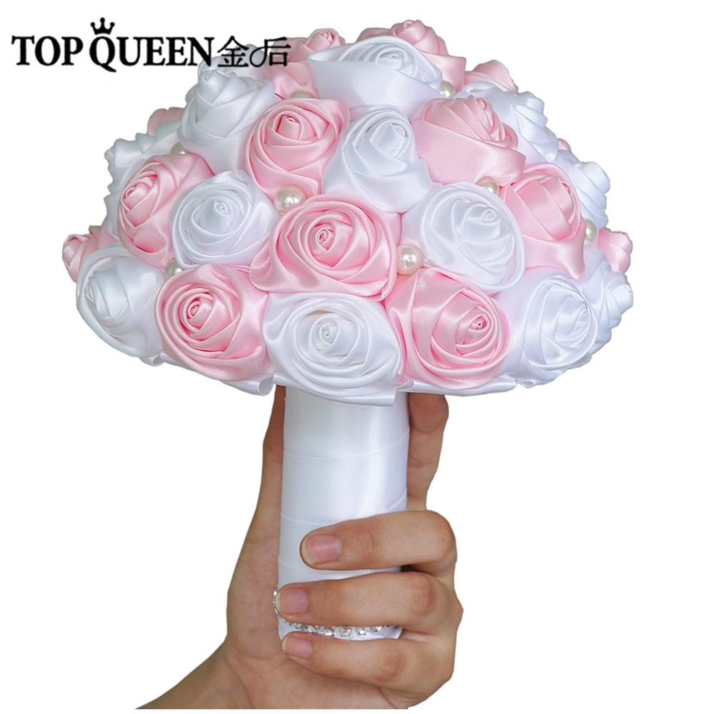 TOPQUEEN F4-PK Bridal Bouquets Artificial Flower Pink Wedding ...