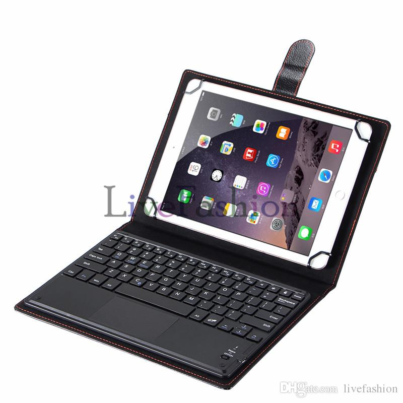 """Hot Sale Wireless Bluetooth 3.0 Keyboard Leather Case Removable With Touch Panel for Tablet PC Apple Android 7 9 10"""" Inch Support 3 System"""