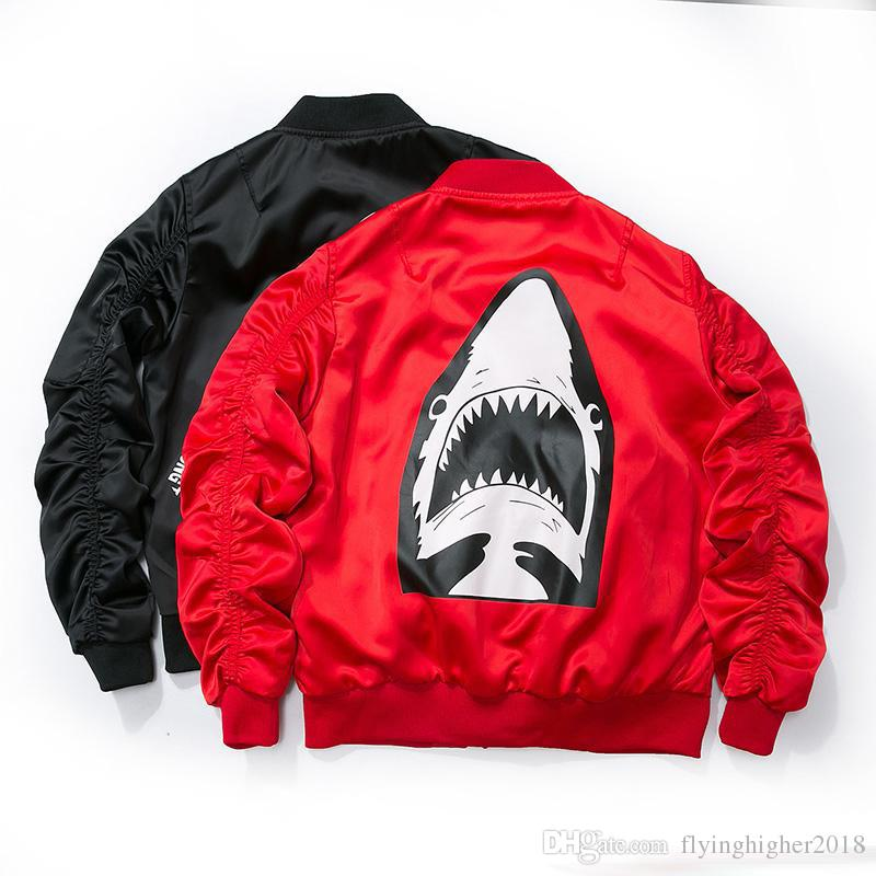 Dropshipping 2017 New Spring Red Shark Bomber Jacket Men ...