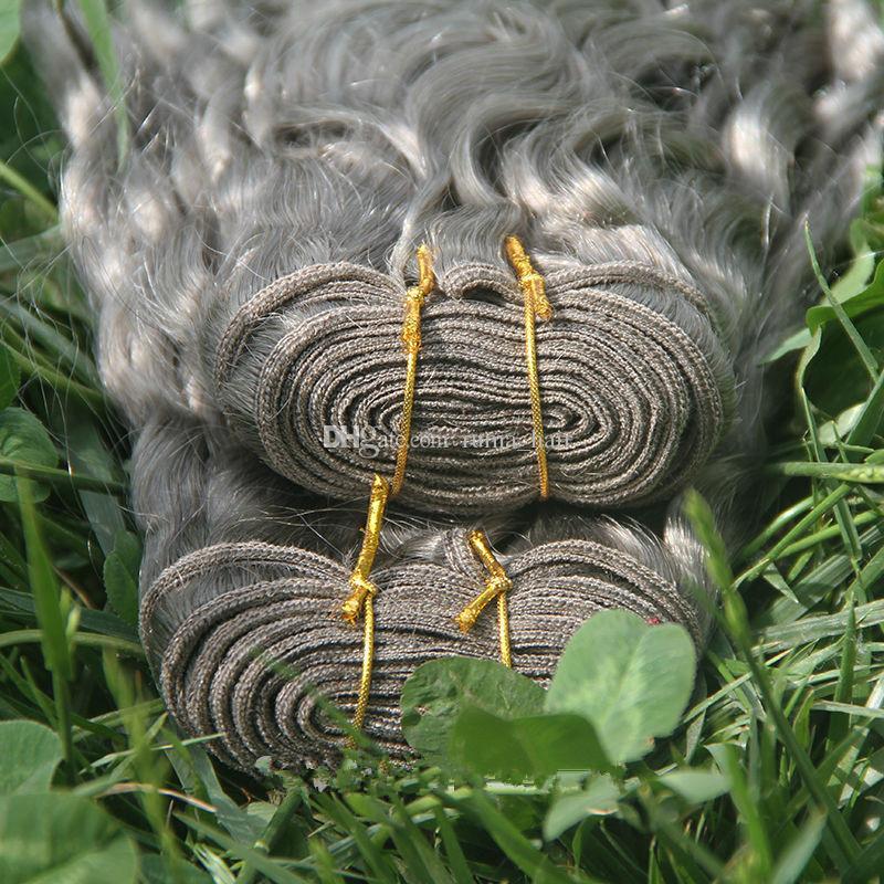 Silver Gray Deep Фигурных человеческих волос Серых бразильские человеческие волосы ткет Серых глубокой волна вьющихся расширения 3шта Лот Нового прибытия на продажу