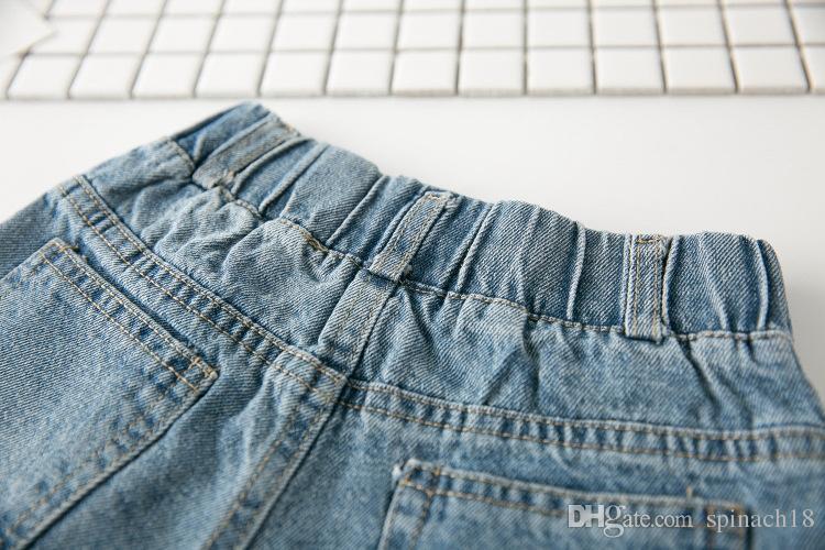 New Summer Child Girls Denim Shorts Baby Kids Children Rose Flower Embroidery Hole Design Jeans Shorts 3041