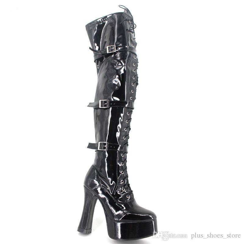 Sexy Thick Platform Heels Cosplay Frauen Stiefel Schwarz Overknee Schuhe Frau Schnalle Riemen Wrapped Benutzerdefinierte Farben Made-To-Order Plus Size