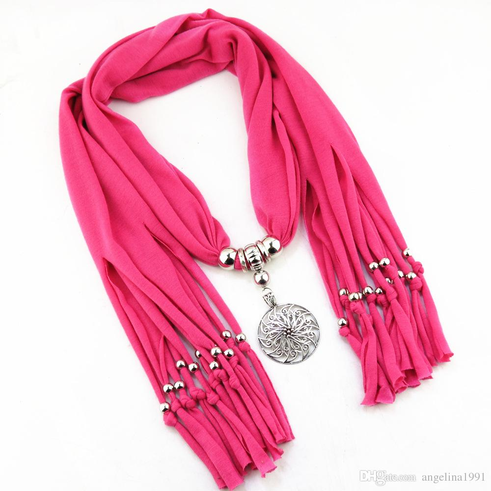 Tassel scarf polyester Alloy round flower pendant jewelry scarf necklace scarves for women