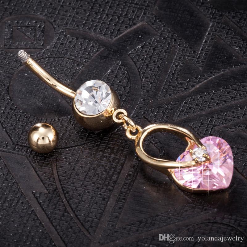 Doce Delicado Coração De Ouro Umbigo Anéis Ombligo Piercing No Umbigo Jóia Do Corpo Piercing No Corpo Jóia Do Corpo para As Mulheres
