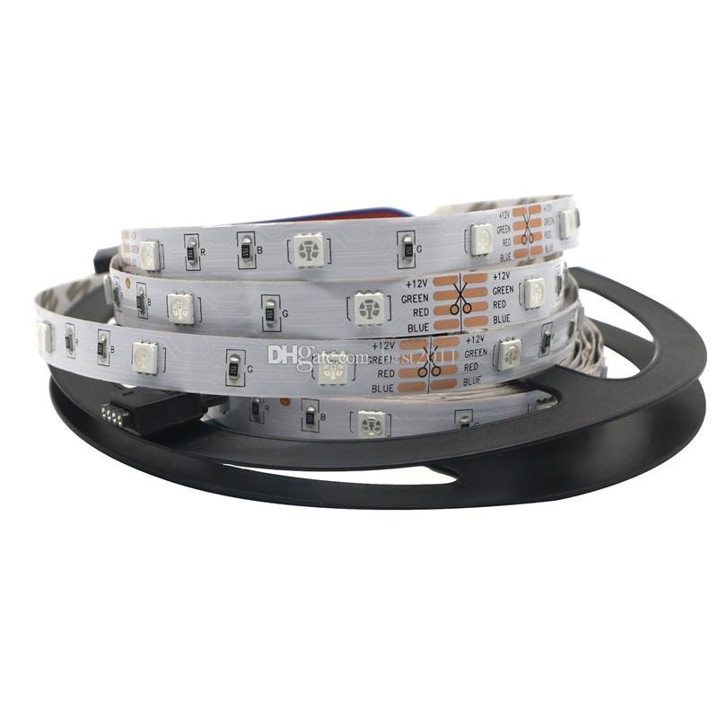 RGB LED قطاع الخفيفة 5050 5M 10M IP20 LED RGB ضوء المصابيح الشريط أدى الشريط مرنة البسيطة الأشعة تحت الحمراء وحدة تحكم مجموعة محول DC12V