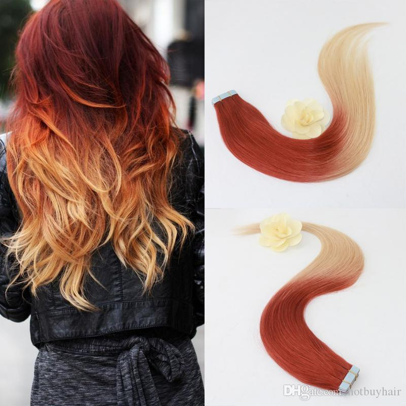 Ombre Human Hair In Extensions Of Tape Ombre Weave Color 35 Fading