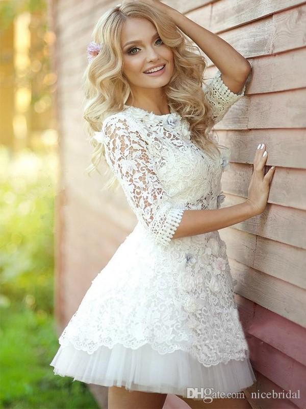 2018 Summer Beach Short Wedding Dresses with Half Sleeve Vestido De Noiva Merry See Through Lace Mini Flowers Cheap Sexy Bridal Gowns