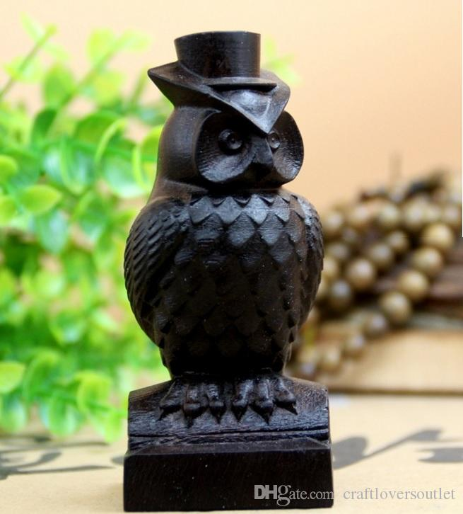 Miniature Mr Owl Wood Carving Figurine Home Decoration