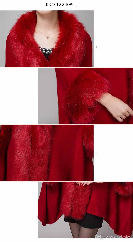 Knitted Shawls Fox Fur Collar Women Pashmina Wraps Rabbit Hair Cape Jacket Fur Overcoat Imitation Fur Faux Fox Collar