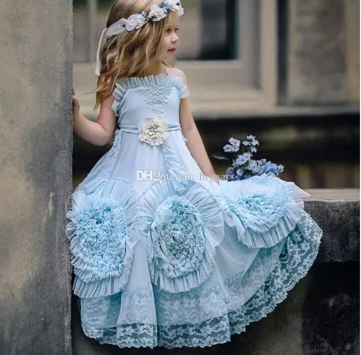 Vestido de niña de flores azul claro vintage vestido de princesa pequeña