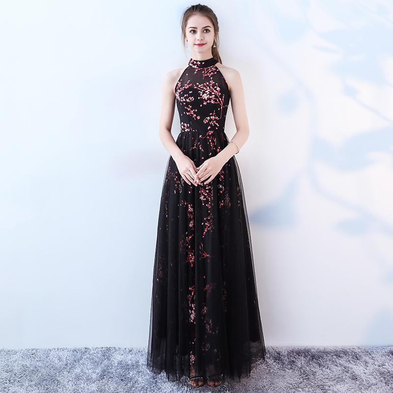 Großhandel Elegante Hohe Hals Abendkleider 2017 Sexy Schwarze ...