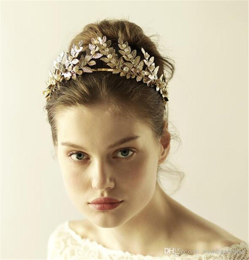 Vintage Greek Gold Leaf Crown Headband Tiara Wedding Bridal Crystal  Rhinestone Hair Accessories Hair Band Jewelry Leaves Headdress Wreath UK  2019 From ... 844690d757c
