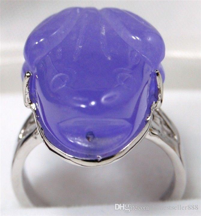 es! facny tallado verde / violeta tallado de jade rana bendito anillo de amor # 7,8,9