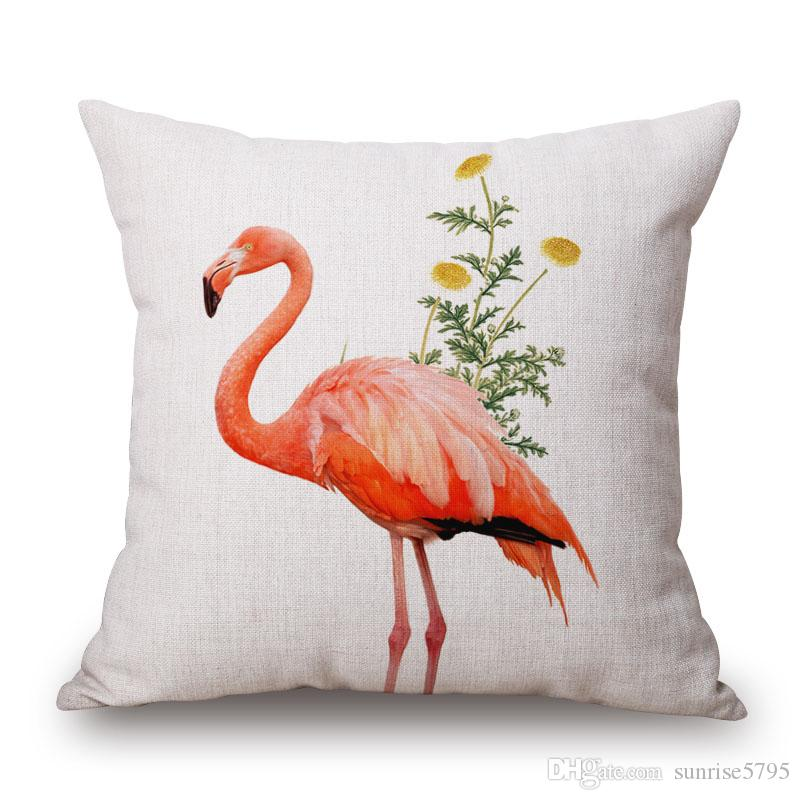 flamingo decoration cushion cover bright pink tropical print chaise chair throw pillow case wild animal home office almofada