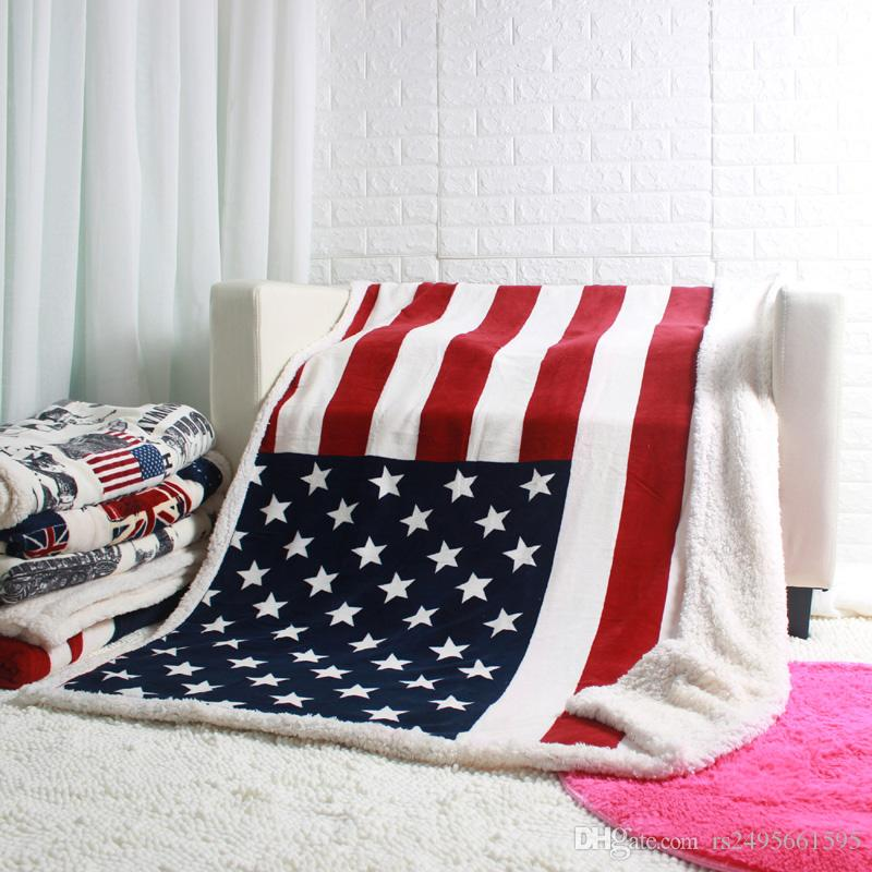 Double Layer Thick Winter Newyork London Canada Usa Uk Flag Blankets Cool Pink Throw Blanket Canada
