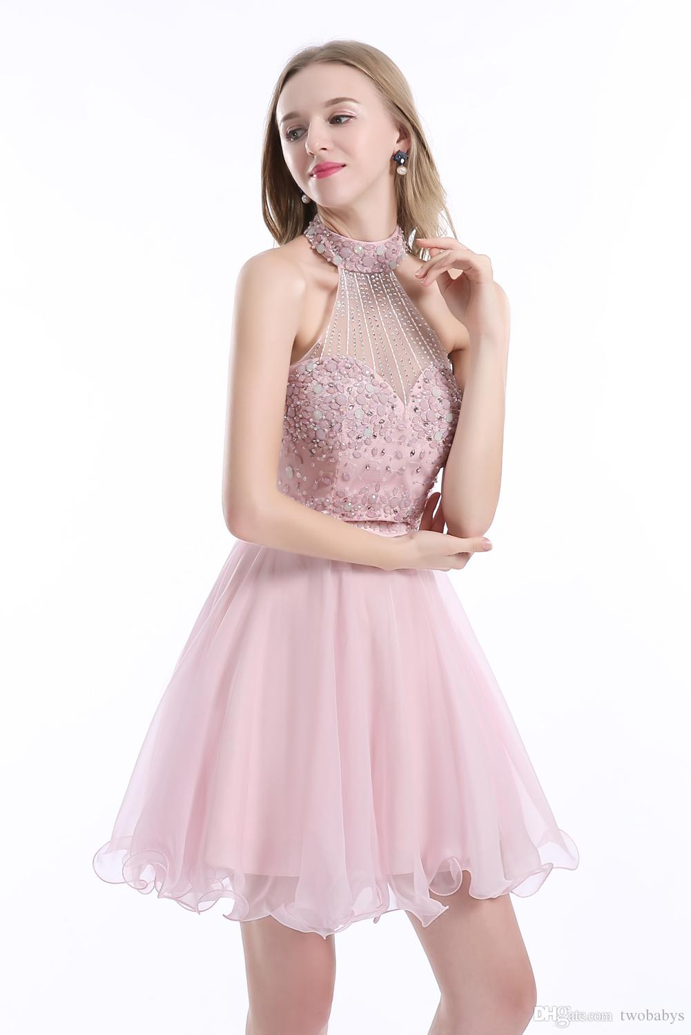 Girl Homecoming Dresses Sexy Mini Two Piece Prom Dress Elegant Luxury Short Cocktail Dresses 2017 robe de cocktail