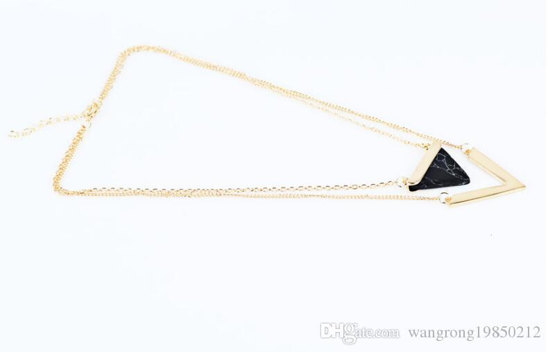 Pietra naturale Geometria triangolo collane tonde lettera v Catena multistrato a doppia catena di clavicola regali feste di compleanno regalo ragazze 370 371