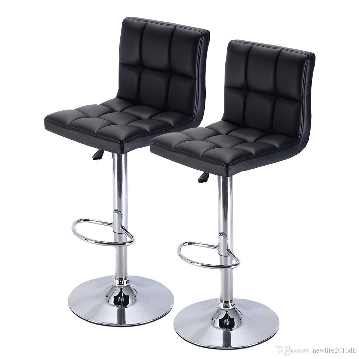Of 2 bar stool luxurious pu leather barstools chair with adjustable counter swivel pub new from newlife2016dh 89 45 dhgate com