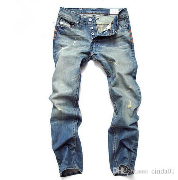 Homens da moda Jeans Mens Magros Calças Casuais Calças Elásticas Light Blue Fit Solto Algodão Denim Marca Jeans Para Homens