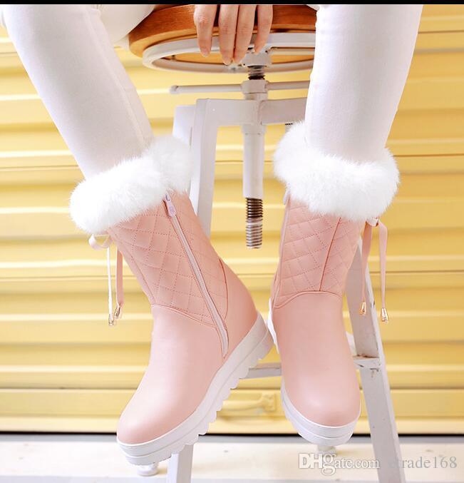 CALDO! Moda Vera pelliccia Snow Boots Donna Warm Shoes Donna sottopiede peluche Black Botas Mujer 2018 New Winter Russian Plus Size 42