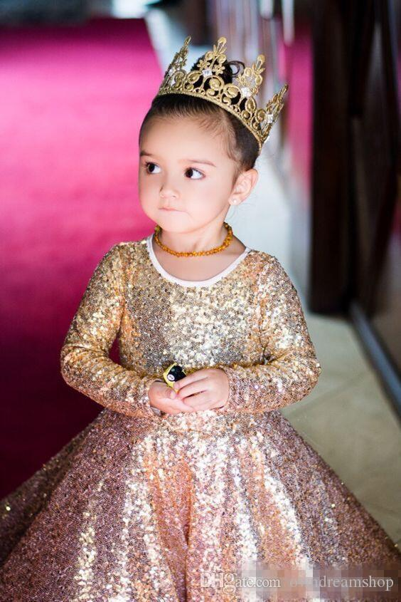 Shinning Girls Pageant Dresses For Teens Layers Sequins Lace Long Sleeves Flower Girl Dress For Weddings Zipper Back Kids Party Dress