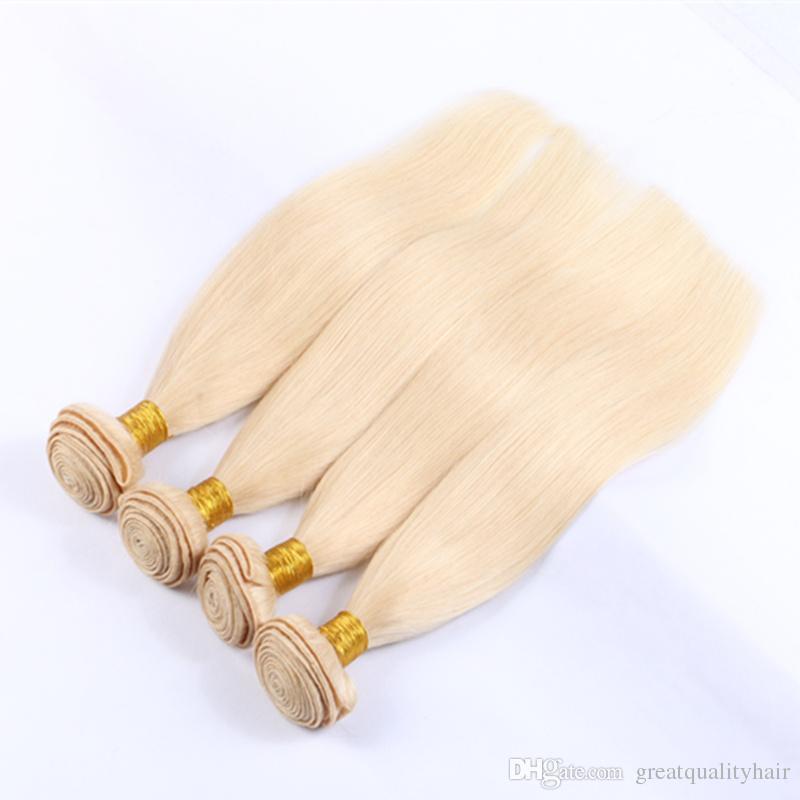 9A 613 Loira Do Cabelo Humano 3/Muito Loira Onda Do Corpo Em Linha Reta Tecer Cabelo Humano Não Transformados Virgem 613 Cor Feixes de cabelo