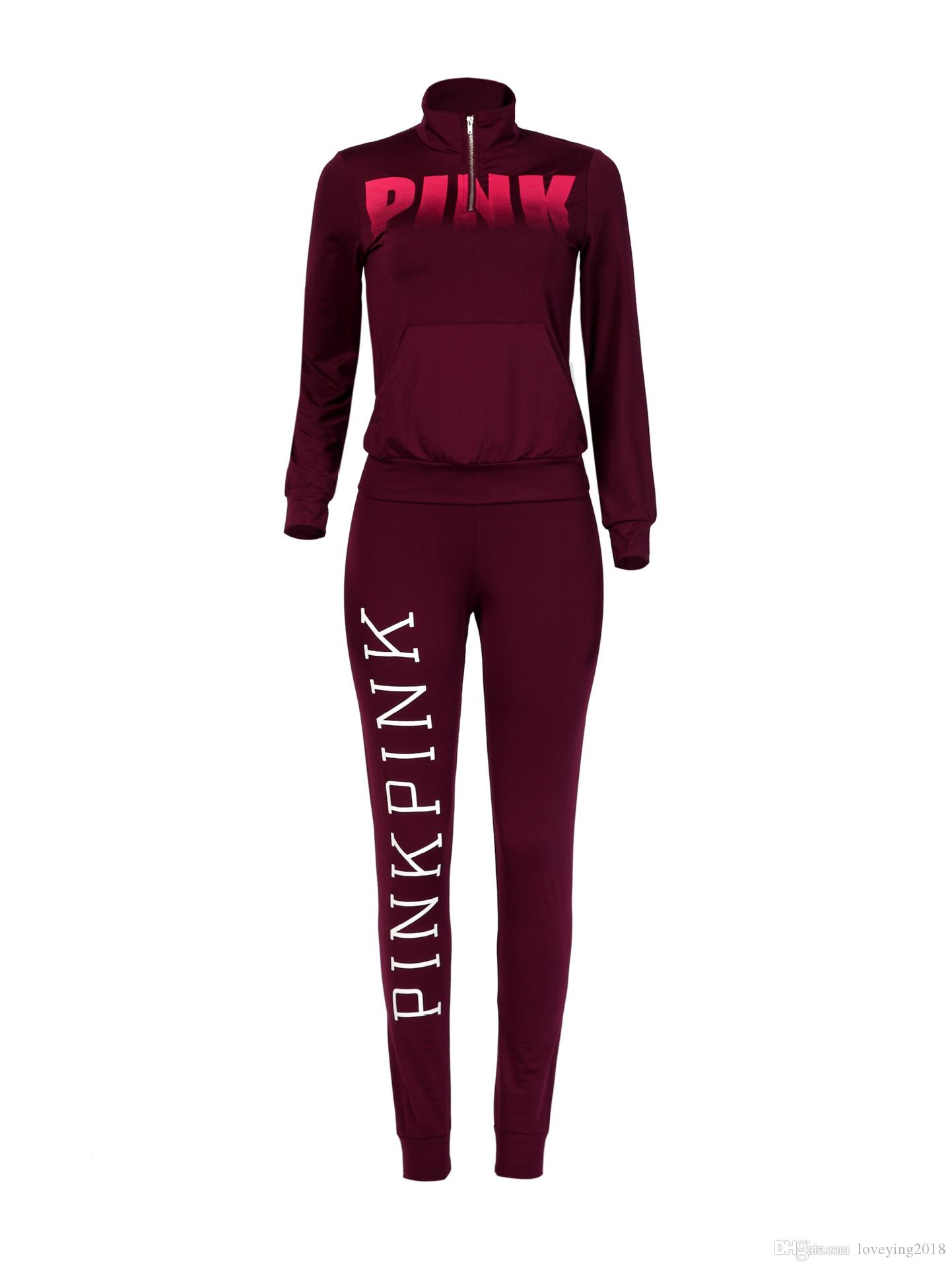 Red Wine Color Suits Pink Letter Print Women Hoodies Outfits Women Long Sleeve Winter Women Set