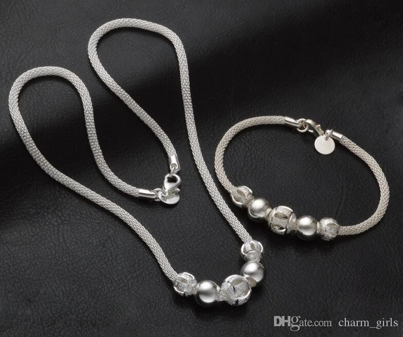 2017 الموضة الجديدة مارك 925 التصفيح الفضة شبكة سلسلة الجوف حبة قلادة سوار رجل امرأة عشاق سوار مجموعة قلادة مجوهرات