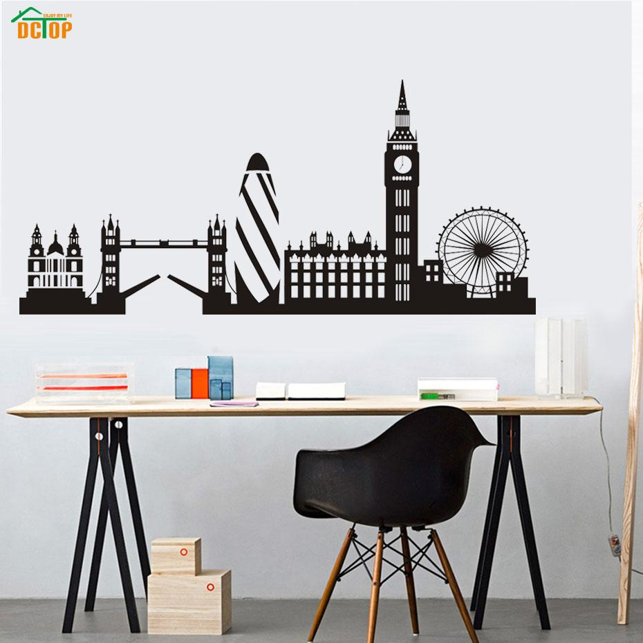 Dctop City Building London Skyline Silhouette Wall Sticker Big Ben Landmark Vinyl Mural Decal Living Room Wall Art Home Decor