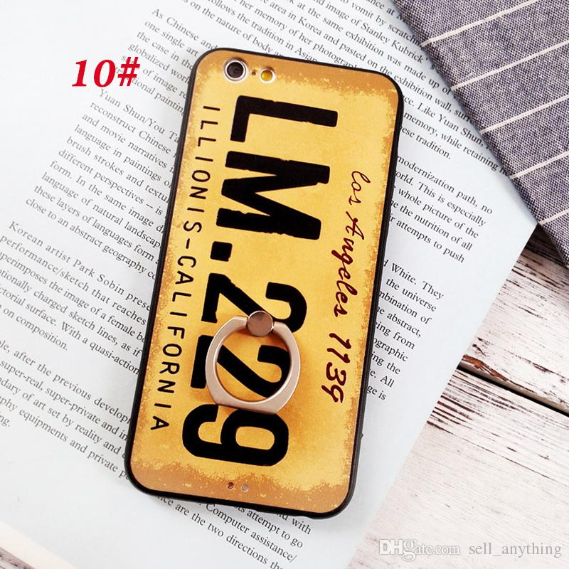 For Iphone 7 Mobile Phone Sets House Number License Plate Number Bracket Ring Embossed Frosted Phone Case For Iphone 6 6S 7 Plus