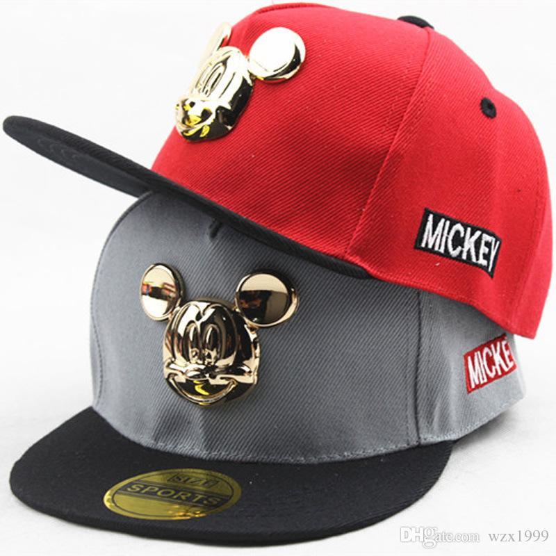 mickey mouse baseball hat applique design toddler cap fashion cotton hip hop metal wild