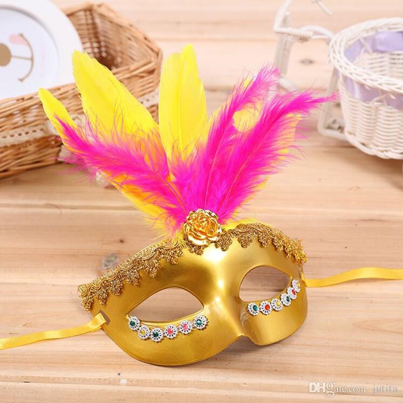 ful Feather Mask Venice Princess Half Face Masks Festive Kids Adults Halloween Party Dress Supplies