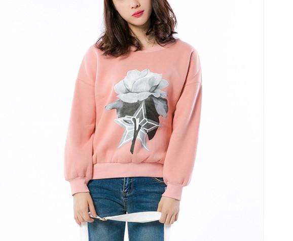 Spring autumn and winter. Pink. Women sweater. New pattern. Sweater. Ladies dress. Girls. Casual fashion. Keep warm.Women's Sweatshirts.