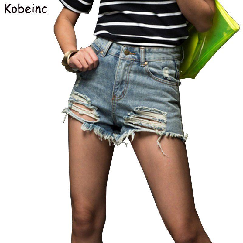 chaussure magasin en ligne la réputation d'abord Fashion Short Jeans 2017 Summer Women High Waist Denim Shorts Frayed Hole  Female Super Cool Flash Shorts XS-5XL Pantalon Femme