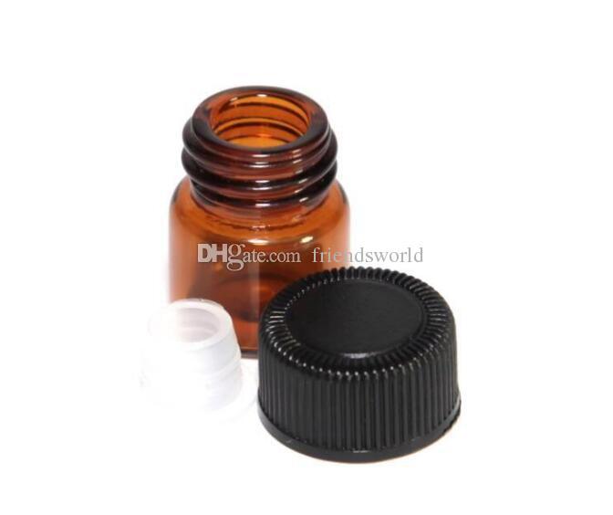 1ml 1/4 Dram Amber Glas ätherisches Öl Flasche Parfüm Probe Röhrchen Flasche mit Stecker und Kappen