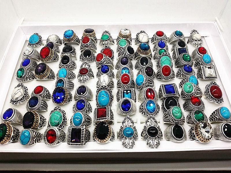al por mayor lotes a granel surtidos estilos de mezcla de los hombres de las mujeres de plata antigua turquesa vintage anillos de piedra a estrenar