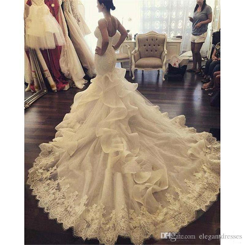 Vintage 2017 Mermaid Lace Wedding Dresses Peearls Sequins Beaded Plus Size Arabic African Pnina Tornai Bridal Gown