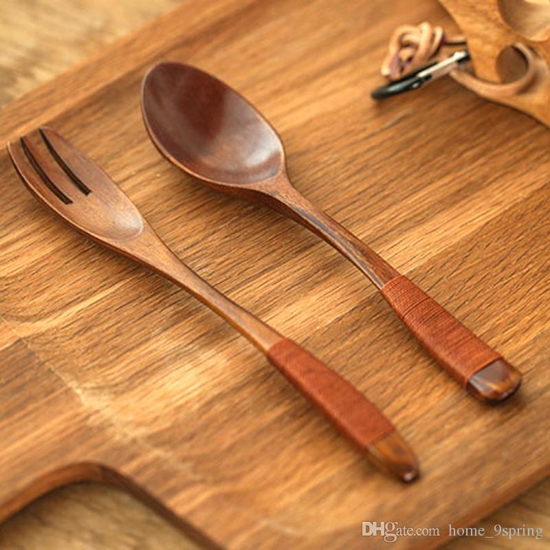 Set de 2 tenedores y cucharas de madera Set estilo japonés tenedores largos de ensalada de madera tenedor sopa de arroz cuchara de madera cubiertos Set de cubiertos