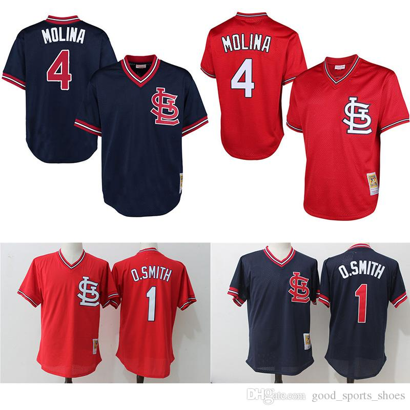 6aa95aad5 ... Throwback St. Louis Cardinals Jerseys 4 Yadier Molina 1 Ozzie Smith  Mitchell Ness 1994 Stitched ...