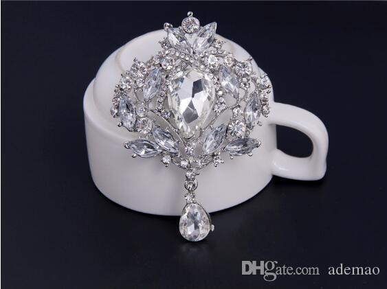 2017 HOT high-grade water drill alloy brooch crown glass corsage factory wholesale duo