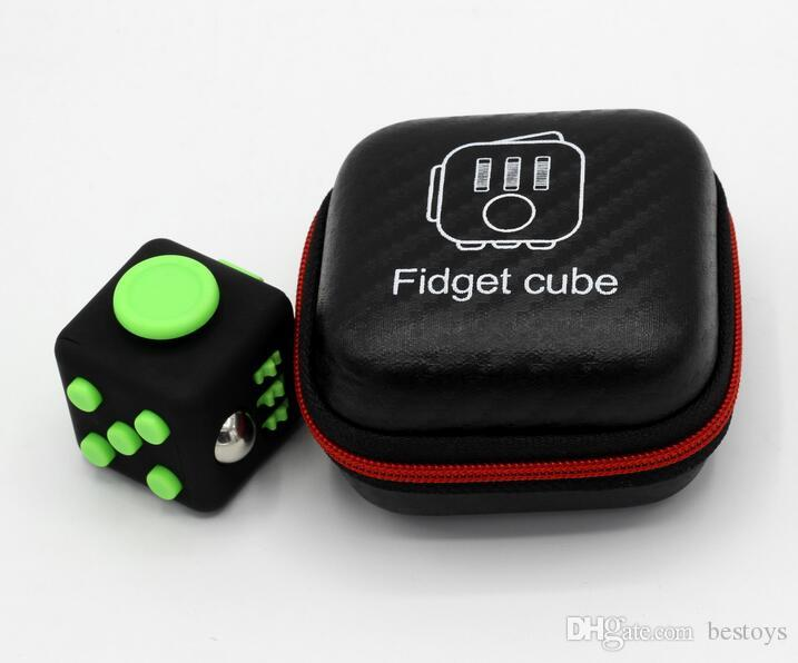 Fidget Cube Anxiety Stress Relief Focus Dice Bag Box Carry Case Packet Toys UK