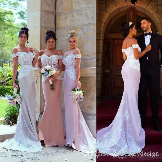 50ff21daa18e Newest Bridesmaid Dresses 2018 Wedding Guest Dress Mermaid Portrait Lace  Applique Maid Of Honor Gowns Formal Occasion Dress Light Green Bridesmaid  Dresses ...