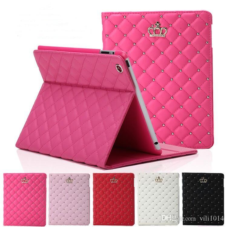 Custodia in pelle PU Corona strass lusso Tablet pieghevole iPad 2 3 4 5 6 Mini iPad 4 con supporto antiurto copertura di dormienza