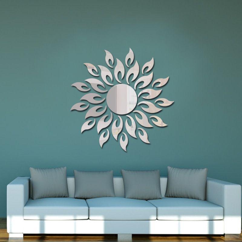 Creative D Acrylic Mirror Surface Wall Sticker Diy Sun Flame Fire - Wall decals mirror