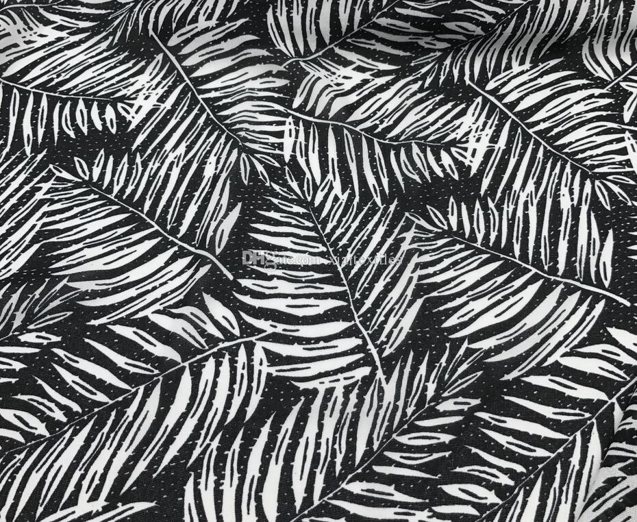 wholesale 4colour Banana leaves tulle fabrics dresses, print satin floral tweed cheap-silk shirt tecido lace stripe fabrics costura B748